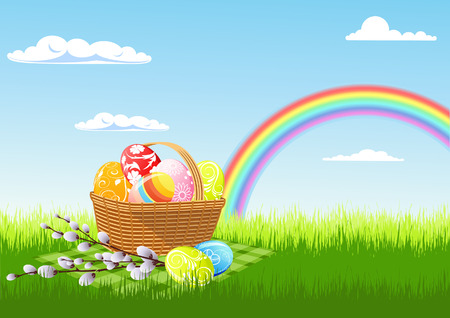 rainbow clouds: Easter picnic and rainbow, vector illustration, file included