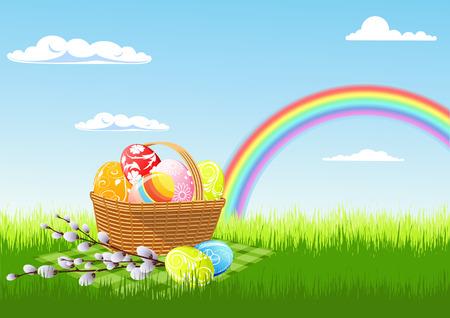arco iris vector: Semana Santa de picnic y arco iris, ilustraci�n vectorial, archivo EPS incluido