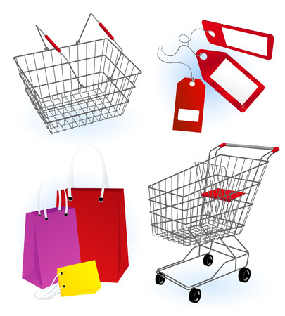 Shopping basket, vector illustration, file included Vector