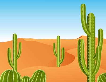 cactus desert: Cactus in de woestijn, vector illustratie bestand