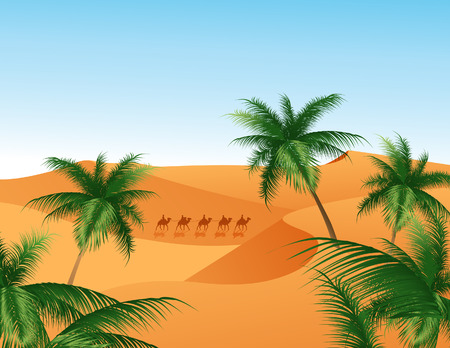 oasis at sunrise: Oasis, vector illustration, file included Illustration
