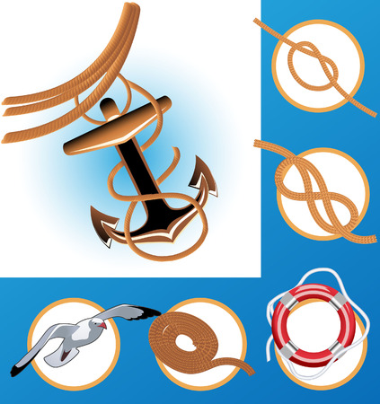 Nautical icons, vector illustration, file included