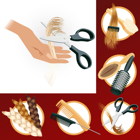 Hairdressing elements, vector illustration, file included Stock Vector - 5062416