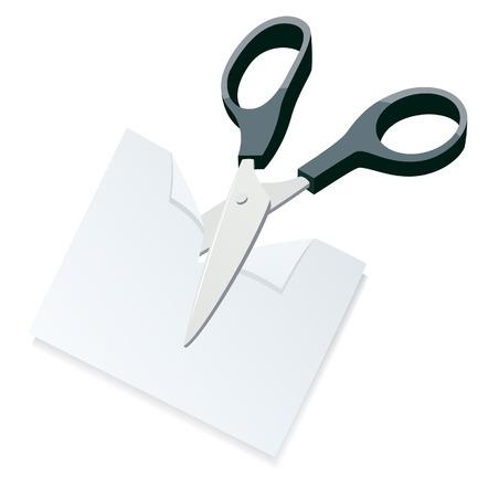 scissors cutting paper: Scissors cutting paper, vector illustration, file included