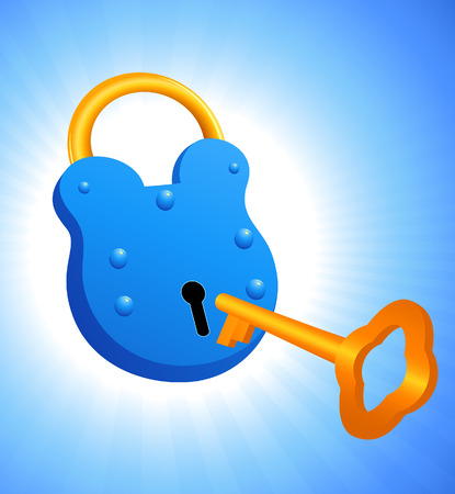 passkey: Lock and key, vector illustration, file included Illustration
