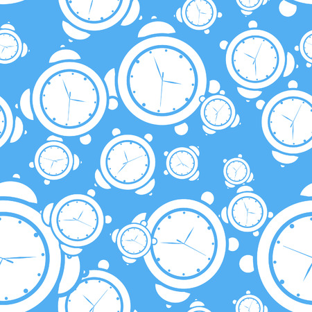 Blue seamless alarm clock background, vector illustration, file included Vector