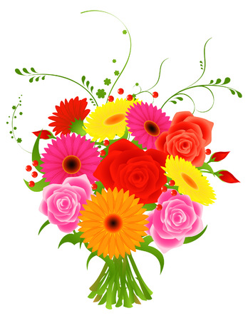 pink flower: Bunch of flowers, vector illustration, file included