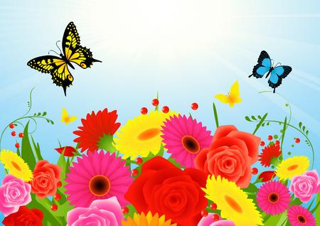 Summer flower background, vector illustration, file included