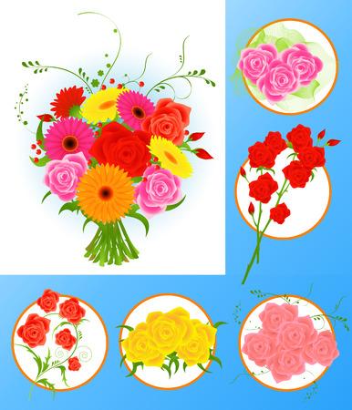 roseleaf: Flower collection, vector illustration, file included