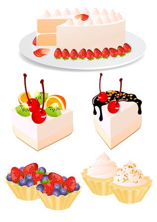 Cake set, vector illustration, file included Vector