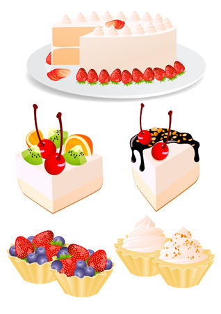 whortleberry: Cake set, vector illustration, file included