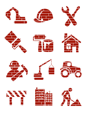 Brick construction icons, vector illustration, file included Illustration