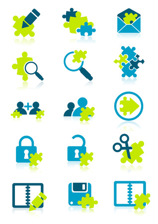 Icons with puzzle elements, vector illustration, EPS file included Vector