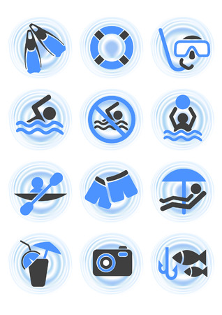 sunbath: Water icons,  vector illustration, EPS file included