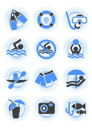 snorkel: Water pictogrammen, vector afbeelding, EPS-bestand opnemen