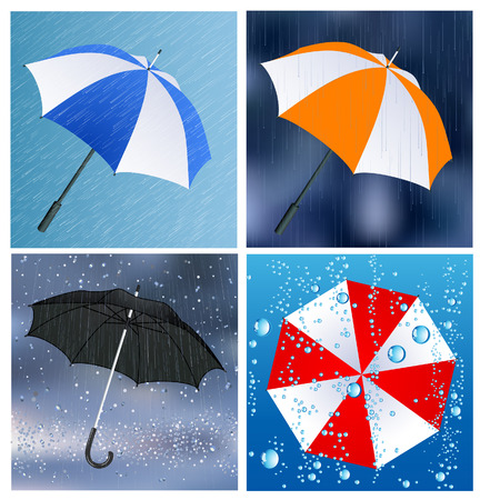 Umbrellas under the rain, vector illustration, EPS file included