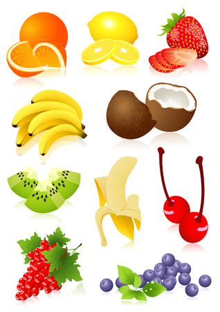 Fruit set,  vector illustration, EPS file included Vector