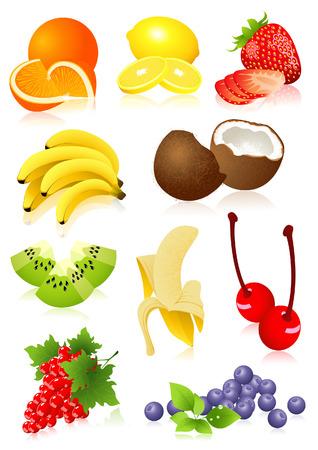 Fruit set,  vector illustration, EPS file included