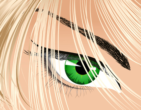 Eye looking from under hair, vector illustration, EPS file included Vector