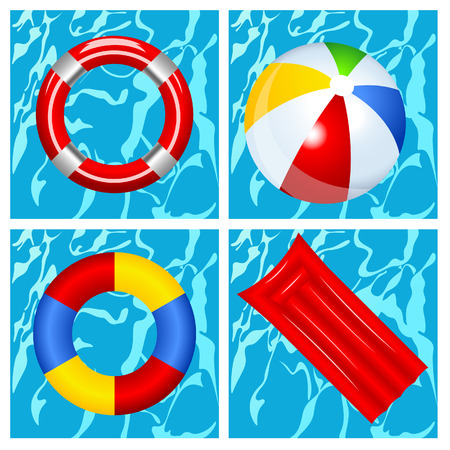 Toys in the swimming pool, vector illustration, file included