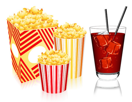 aerated: Popcorn and lemonade, vector illustration, file included