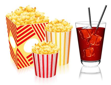 bocal: Popcorn e limonata, illustrazione vettoriale, file incluso