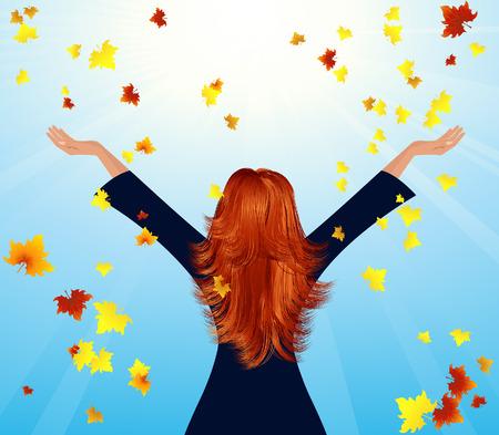 Girl throwing up autumnal leaf, vector illustration, file included Illustration