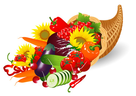 vegatables: Autumnal cornucopia, vector illustration, file included