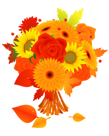 autumnally: Bunch of autumn flowers, vector illustration, file included