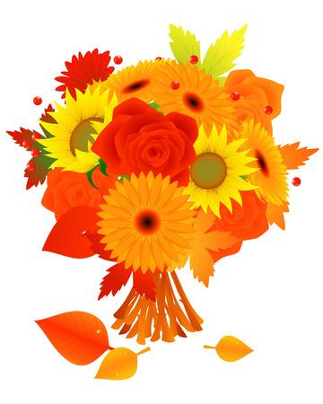 herbstblumen: Haufen Herbst Blumen, Vektor Illustration, Datei enthalten