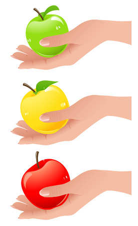 Apples in the hand different colors, vector illustration, file included Stock Vector - 5515062