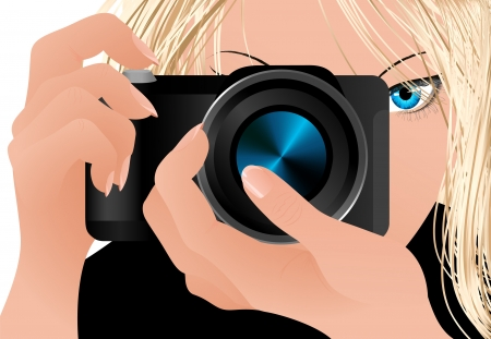 Girl holding camera, vector illustration. file included Vector