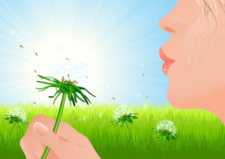 Girl blowing dandelion on summer field, vector illustration, file included Vector
