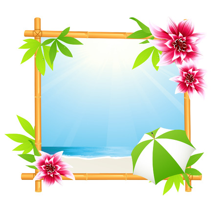 pink flower: Tropical beach in bamboo frame, vector illustration, file included