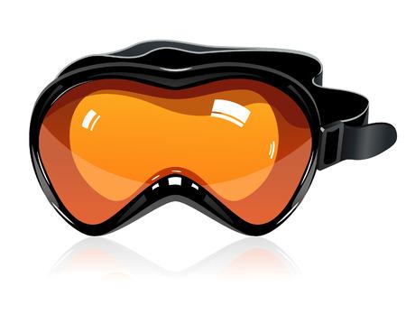 스키: Orange ski mask, vector illustration, file included