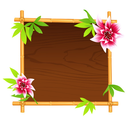 Wooden bamboo frame, vector illustration, file included