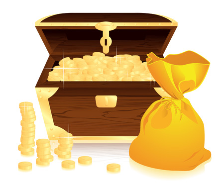 Money trunk and moneybag, vector illustration, EPS file included Illustration