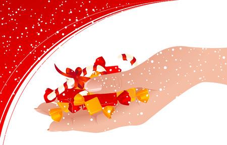 sweetmeats: Caramelos en la mano humana, ilustraci�n vectorial, archivo EPS incluido  Vectores