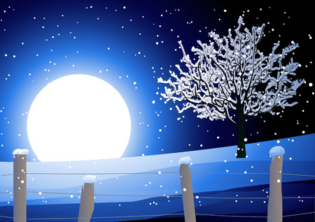 bank branch: Night winter landscape with tree, vector illustration, EPS file included