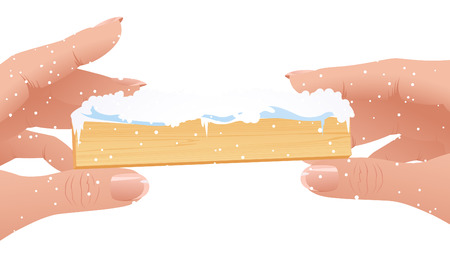 Human fingers on isolated background holding Christmas frame, vector illustration, EPS file included Vector