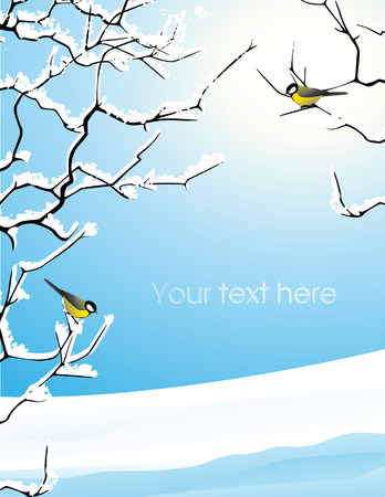 rime: Trees brunches under the snow, vector illustration, file included