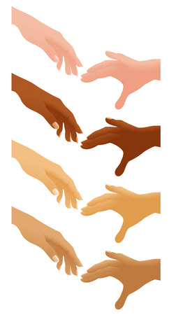 Helping hands different nations, vector illustration, EPS file included Illustration
