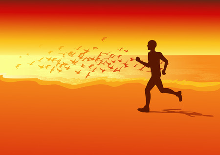 Sportsman running on the beach in the sunset,  vector illustration, EPS  file included