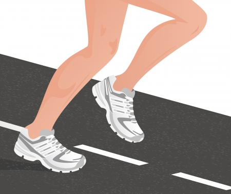 demarcation: Sportsman running on the road, vector illustration, EPS file included