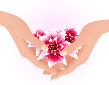 Hands holding tropical flowers, vector illustration, EPS file included