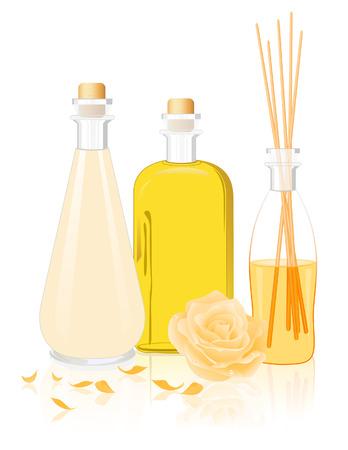 Spa oil bottles,  vector illustration, EPS file included Illustration