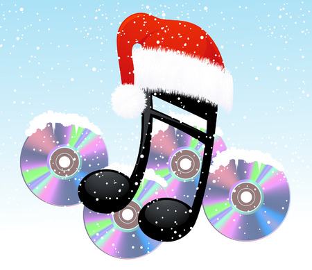 Christmas note and disc,  vector illustration, EPS and AI files included Vector