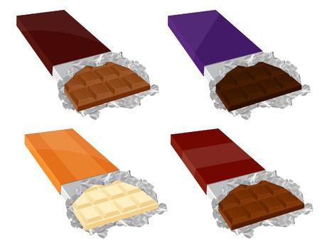 candy bar: Cioccolato set, illustrazione, file incluso  Vettoriali