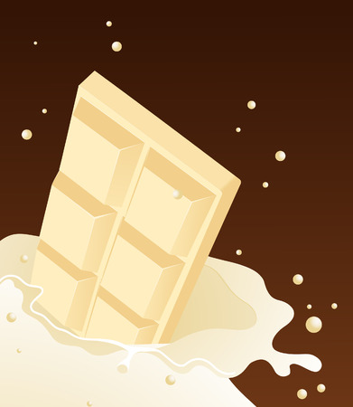 White chocolate falling in milk,   illustration,  file included Vector