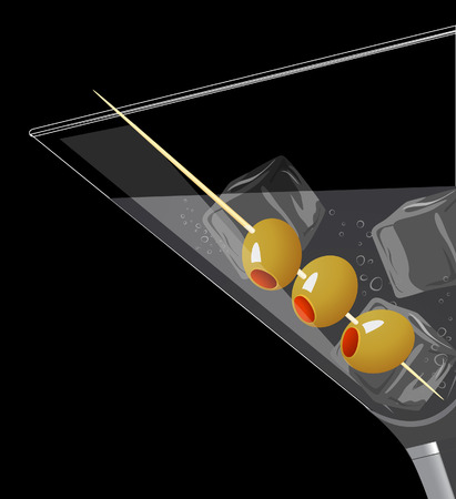 Cocktail with ice, illustration,  Vector